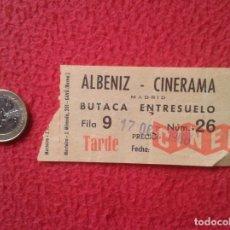 Cine: ANTIGUA ENTRADA TICKET ENTRY ENTRANCE TEATRO ? CINE ? ALBENIZ CINERAMA MADRID 1966 TARDE SPAIN VER F. Lote 159115994