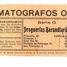Cinéma: ENTRADA CINEMATOGRAFOS OLIMPIA. BILBAO, BIZKAIA. AÑOS 50. Lote 159239228