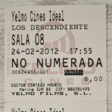 Cine: 2 ENTRADAS DE CINE ADULTOS, PELÍCULA LOS DESCENDIENTES, 24-02-2012. YELMO CINES IDEAL. Lote 160054314