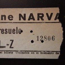 Cine: 1 ENTRADA DEL CINE ** NARVAEZ DE MADRID ** ENTRESUELO . USADA. Lote 160446498