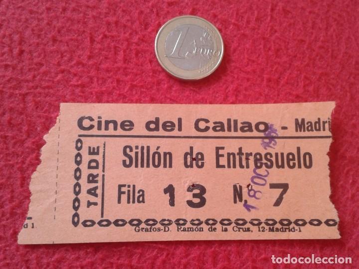 ANTIGUA ENTRADA TICKET ENTRY ENTRANCE CINE CINEMA DEL CALLAO MADRID SPAIN TARDE SILLÓN VER FOTO Y DE (Cine - Entradas)