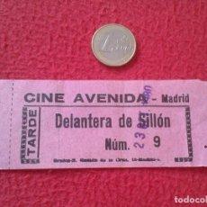 Cine: ANTIGUA ENTRADA TICKET ENTRY ENTRANCE CINE CINEMA AVENIDA MADRID SPAIN 1980 TARDE DELANTERA SILLÓN . Lote 162011074