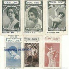 Cine: (PG-190435)LOTE DE 6 ENTRADAS CINE IDEAL Y DORE - CINE MUDO - MIRAR REVERSOS. Lote 162176702