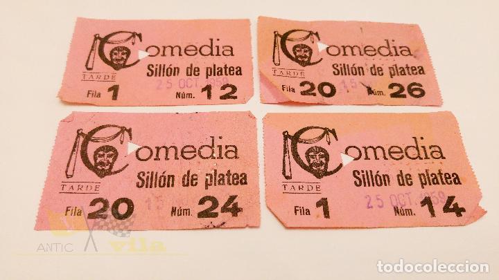 4 ENTRADAS PARA EL COMEDIA DE BARCELONA - 1959 (Cine - Entradas)