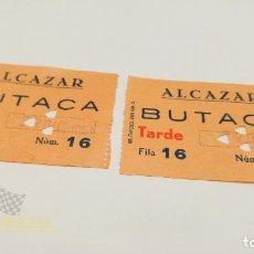 Cine: 2 ENTRADAS CINE ALCAZAR - BARCELONA - 1953. Lote 164167318