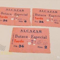 Cine: 3 ENTRADAS CINE ALCAZAR - BARCELONA - BUTACA ESPECIAL - 1968. Lote 164167622
