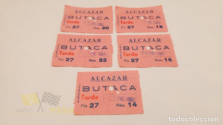 5 ENTRADAS CINE ALCAZAR - BARCELONA - 1963 (Cine - Entradas)