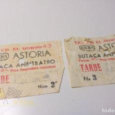 Cine: 2 ENTRADAS ASTORIA - BUTACA AMFITEATRO - EXCISA - CASA BALTÀ - AÑOS 60. Lote 164734726