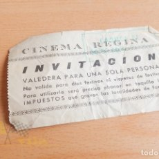Cine: ENTRADAS CINE REGINA - INVITACIÓN - AÑOS 60. Lote 167240120