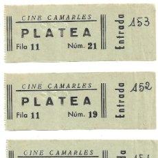 Cine: 4 ENTRADAS DE CINE CAMARLES , TARRAGONA . Lote 171691165