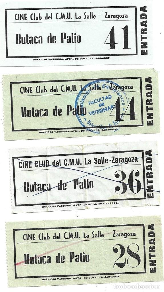 ZARAGOZA .- 4 ENTRADAS DEL CINE CLUB DEL C.M.U LA SALLE (Cine - Entradas)