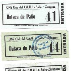 Cine: ZARAGOZA .- 4 ENTRADAS DEL CINE CLUB DEL C.M.U LA SALLE . Lote 171733672