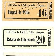 Cine: ZARAGOZA .- 5 ENTRADAS DEL CINE CLUB DEL C.M.U LA SALLE. Lote 171733824