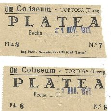 Cine: 4 ENTRADAS DE CINE COLISEUM.- TORTOSA .- PLATEA . Lote 171873470