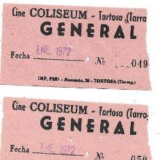 Cine: 4 ENTRADAS DE CINE COLISEUM.- TORTOSA .- GENERAL. Lote 171878063