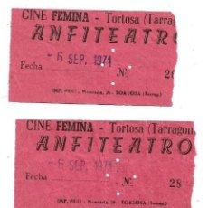 Cine: 4 ENTRADAS DE CINE FEMINA .- TORTOSA .- ANFITEATRO . Lote 171880047