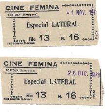Cine: 4 ENTRADAS DE CINE FEMINA .- TORTOSA .- ESPECIAL LATERAL . Lote 171884998
