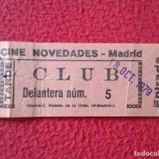 Cine: BILLETE ENTRADA TICKET ENTRY VALE CINE CLUB NOVEDADES MADRID TARDE DELANTERA AÑO 1979 VER FOTO/S. Lote 175689207