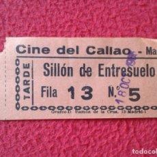 Cine: BILLETE ENTRADA TICKET ENTRY VALE CINE DEL CALLAO MADRID SILLÓN DE ENTRESUELO TARDE VER FOTO/S Y DES. Lote 175690935