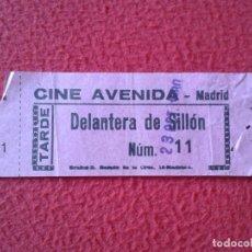 Cine: BILLETE ENTRADA TICKET ENTRY VALE CINE AVENIDA MADRID TARDE DELANTERA DE SILLÓN VER FOTO/S Y DESCRIP. Lote 175692803