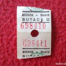 Cine: BILLETE ENTRADA TICKET ENTRY VALE CINE AVENIDA MADRID BUTACA VER FOTO/S Y DESCRIPCIÓN. PEQUEÑA. Lote 175711764