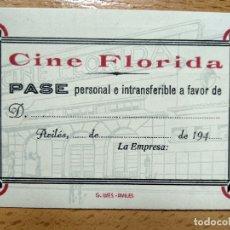 Cinéma: PASE CINE FLORIDA, AVILES ASTURIAS. AÑOS 40.. Lote 191148335