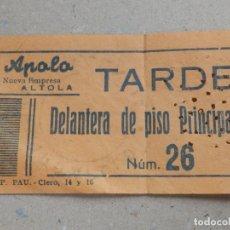 Cine: ENTRADA DE CINE - APOLO - VALENCIA - TARDE - DELANTERA PISO PRINCIPAL - 30 DE DICIEMBRE DE 1962. Lote 180169698