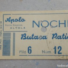 Cine: ENTRADA DE CINE - APOLO - VALENCIA - NOCHE - BUTACA DE PATIO - AÑOS 50´S 60´S. Lote 180173363