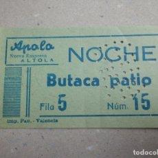 Cine: ENTRADA DE CINE - APOLO - VALENCIA - NOCHE - BUTACA DE PATIO - VERDE - 25 DE DICIEMBRE DE 1960. Lote 180185267