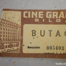 Cine: ENTRADA DE CINE - GRAN VÍA - BILBAO - BUTACA - AÑOS 50´S. Lote 180187272
