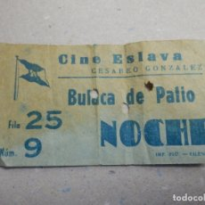 Cine: ENTRADA DE CINE - ESLAVA - BUTACA PATIO - NOCHE- 5 DE ENERO 1963. Lote 180189527