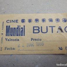 Cine: ENTRADA DE CINE - CINE MUNDIAL - VALENCIA - 22 DE MARZO DE 1966. Lote 180210946