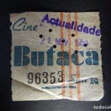 Cine: ENTRADA DE CINE - ACTUALIDADES - BUTACA - 21 DE NOVIEMBRE DE1954. Lote 180219156