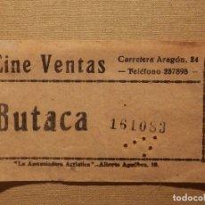 Cine: ENTRADA DE CINE - VENTAS - MADRID - BUTACA - AÑOS 50´S 60´S. Lote 181165082