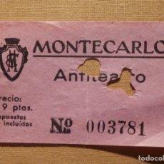Cine: ENTRADA DE CINE - CINE MONTECARLO - BARCELONA - ANFITEATGRO - ROSA - AÑOS 50´S 60´S. Lote 181172008
