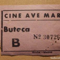 Cine: ENTRADA DE CINE - CINE AVE MARÍA - MADRID - BUTACA - ROSA - AÑOS 50´S 60´S. Lote 181185558