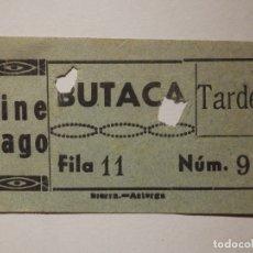 Cine: ENTRADA DE CINE - CINE GAGO - BEMBIBRE - LEON - BUTACA - AÑOS 50'S - 60'S. Lote 181877606