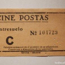 Cine: ENTRADA DE CINE - CINE POSTAS - MADRID - ENTRESUELO - AÑOS 50´S 60´S. Lote 181979307