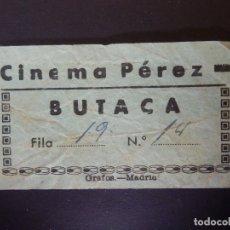 Cine: ENTRADA DE CINE - CINEMA PÉREZ - ALHAMA - GRANADA - ENTRESUELO - AÑOS 50´S 60´S. Lote 181979526