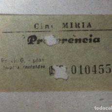 Cine: ENTRADA DE CINE - CINE MIRIA - BARCELONA - PREFERENCIA - AÑOS 50'S - 60'S - RARO. Lote 182086821