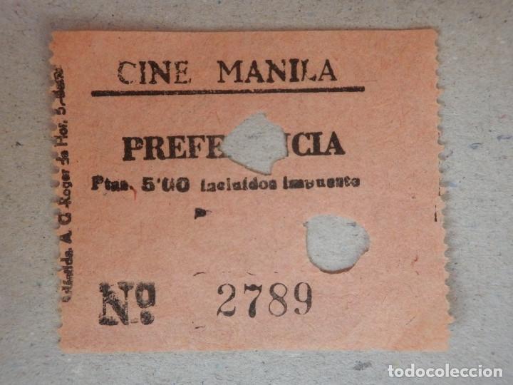 ENTRADA DE CINE - CINE MANILA - BARCELONA - PREFERENCIA - AÑOS 50'S - 60'S (Cine - Entradas)