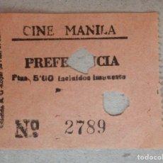 Cine: ENTRADA DE CINE - CINE MANILA - BARCELONA - PREFERENCIA - AÑOS 50'S - 60'S. Lote 182087858