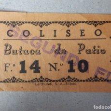 Cine: ENTRADA DE CINE - CINE COLISEO - EIBAR - BUTACA DE PATIO - AÑOS 50'S - 60'S. Lote 182091413
