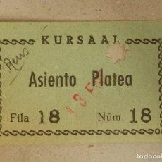 Cine: ENTRADA DE CINE - CINE KURSAAL - REUS - ASIENTO PLATEA - AÑOS 50'S - 60'S. Lote 182091762