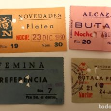 Cine: LOTE 4 ENTRADAS CINES BARCELONA 1960 - FEMINA -NOVEDADES - ALCAZAR - WINDSOR. Lote 182421003