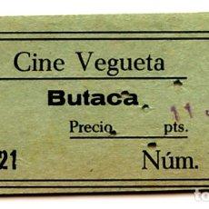 Cine: CINE VEGUETA ENTRADA ORIGINAL DE LA ÉPOCA LAS PALMAS DE GRAN CANARIA (ISLAS CANARIAS). Lote 182690385