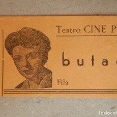 Cine: ENTRADA DE CINE - TEATRO-CINE - PUZOL, VALENCIA - BUTACA - AÑOS 60'S -. Lote 182792268