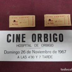 Cine: CARTEL CINE ORBIGO 1967 Y 2 ENTRADAS PICADAS 1958. Lote 183031282