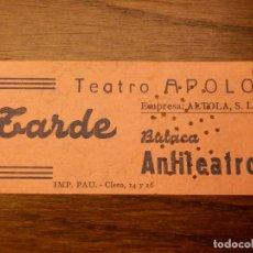 Cine: ENTRADA - TEATRO APOLO - VALENCIA - BUTACA - AÑOS 50'S 60'S. Lote 183201863