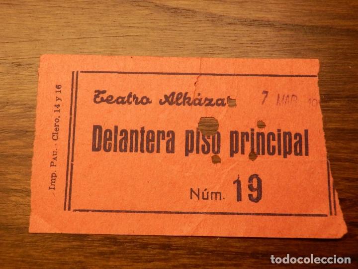 ENTRADA - TEATRO ALKAZAR - VALENCIA - DELANTERA PISO PRINCIPAL - AÑOS 50'S 60'S (Cine - Entradas)